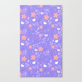 Cute bird and flower pattern Canvas Print