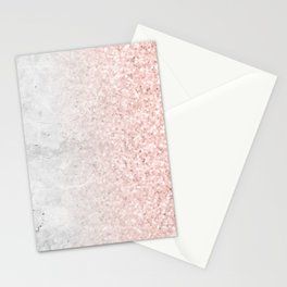 Real Marble and Rose Gold Mermaid Sparkles III Stationery Cards