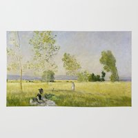 monet Area & Throw Rugs featuring Summer by Claude Monet by Palazzo Art Gallery