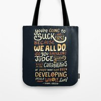 risa rodil Tote Bags featuring Don't Be Afraid To Suck by Risa Rodil