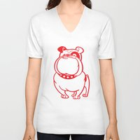 bulldog V-neck T-shirts featuring Bulldog by drawgood