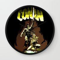 "conan Wall Clocks featuring Conan ""The Barbarian"" * Conan, el bárbaro * Vintage Movie Inspiration by Freak Shop 