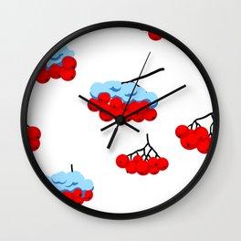 berries of rowan and snow Wall Clock