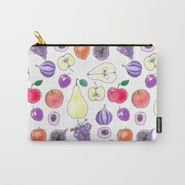 Watercolor pattern design with various fruits Carry-All Pouch
