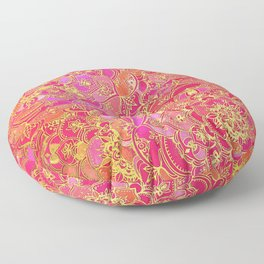 Hot Pink and Gold Baroque Floral Pattern Floor Pillow