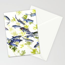 Fish Blue green fish design zebra fish, Danio aquarium Aquatic design underwater scene Stationery Cards