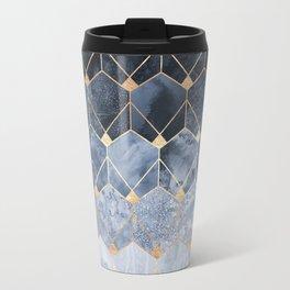 Blue Hexagons And Diamonds Travel Mug