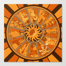 Harley and J Zodiac Orange Canvas Print