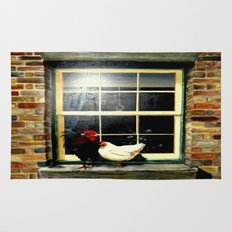 The rooster and a hen on a window Ledge Rug