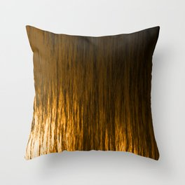 Bright texture of shiny foil of bronze flowing waves on a dark fabric. Throw Pillow