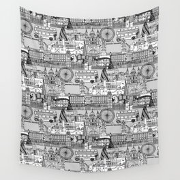 London toile black white Wall Tapestry