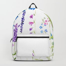 purple blue wild flowers watercolor painting Backpack