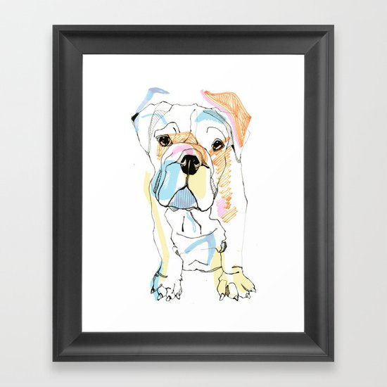 Bulldog Colour Framed Art Print