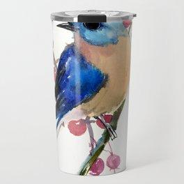 Bluebird and Berries Travel Mug