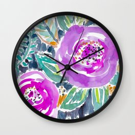 Gardens of Bolinas Purple Floral Wall Clock
