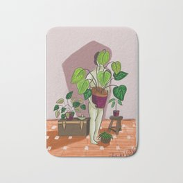 boys with love for plants illustration painting Bath Mat