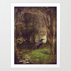 Raven in forest Art Print