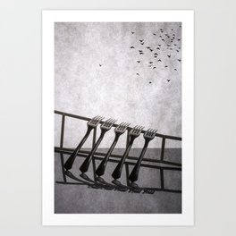 Birds flew away Art Print