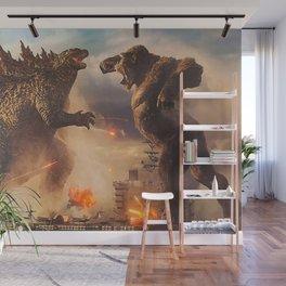 Godzilla vs King Kong Moster Fight Movies Art Print Decor Home Poster Full Size Wall Mural