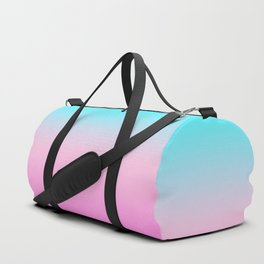 Simple modern summer beach bright teal pink ombre gradient pattern Duffle Bag