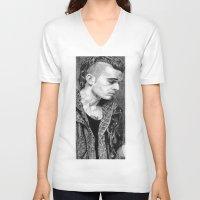 matty healy V-neck T-shirts featuring Matty Healy by rachelmbrady_art