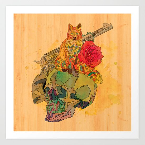 Fox & Rose Art Print
