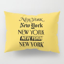 New York City Yellow Taxi and Black Typography Poster NYC Pillow Sham