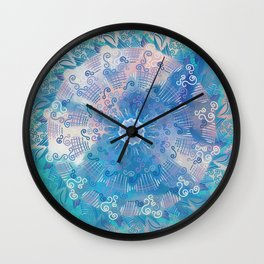 Tropical Mandala (blue) Wall Clock