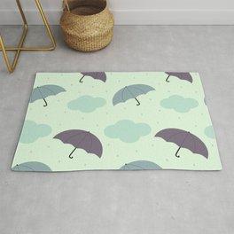 rainy sky with colorful umbrella seasonal pattern Rug