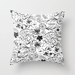 Stylish abstract brush strokes and floral doodles design Throw Pillow