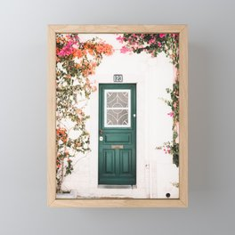 Front Door with Flowers in Cascais, Portugal | Travel Photography | Framed Mini Art Print