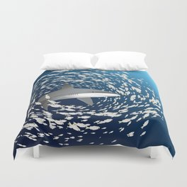 Reef shark and school of fish Duvet Cover