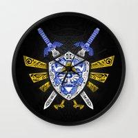 the legend of zelda Wall Clocks featuring Heroes Legend - Zelda by Art & Be