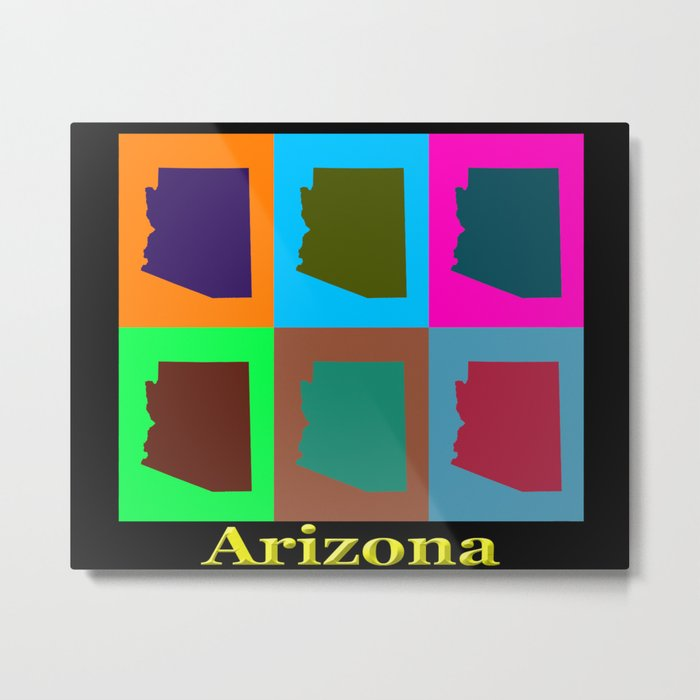 Colorful Arizona State Pop Art Map Metal Print
