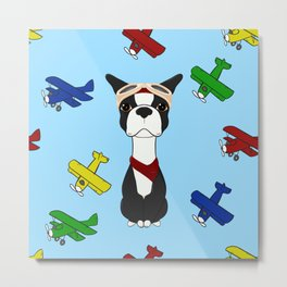 Bobble Pilot Boston Terrier Metal Print