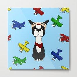 Bobble Pilot Boston Terrier Metal Print
