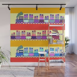 Colorful trains with Christmas gifts Wall Mural