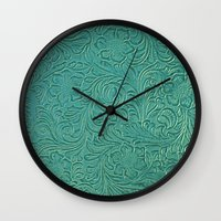 leather Wall Clocks featuring teal leather by Sylvia Cook Photography