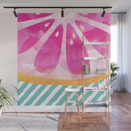 Pink Grapefruit Abstract Wall Mural