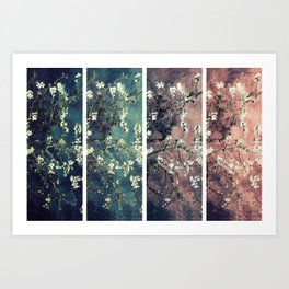 Van Gogh Almond Blossoms Teal Mauve Myrtle Green Art Print