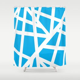 Abstract Interstate  Roadways White & Aqua Blue Color Shower Curtain