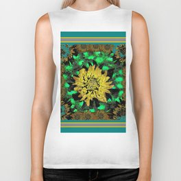 Abstracted Teal-Green Yellow Chrysanthemums Floral Biker Tank