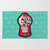 gumball Area & Throw Rugs featuring Gumball Sushi   ガチャ ガチャ 鮨 by thickblackoutline
