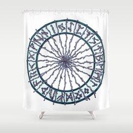 Elder Futhark Rune Wheel Shower Curtain