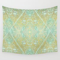 bedding Wall Tapestries featuring Mint & Gold Effect Diamond Doodle Pattern by micklyn