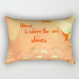 Home Is Where The Sun Shines Typography Design Rectangular Pillow