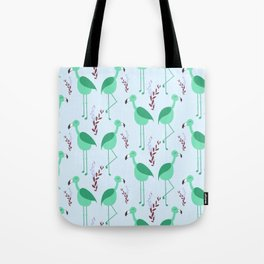 Flattering Flamingos (Green) Tote Bag