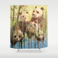 pandas Shower Curtains featuring Melting Pandas by Victoria Orolfo