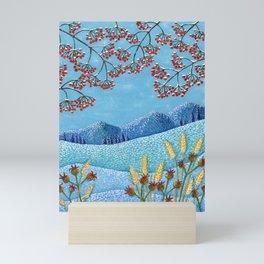 Winter Mountain Colorful Fields Mini Art Print