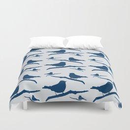 Blue Silhouette Bird Duvet Cover